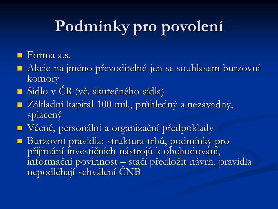 Podmínky pro povolení Forma a.s.