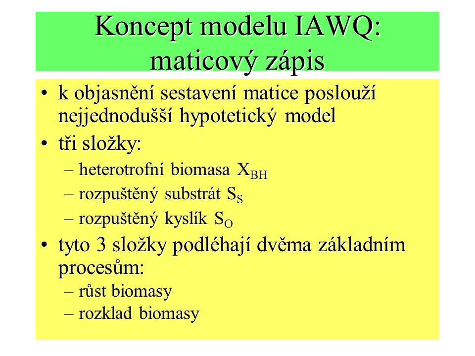 Koncept modelu IAWQ: maticový zápis