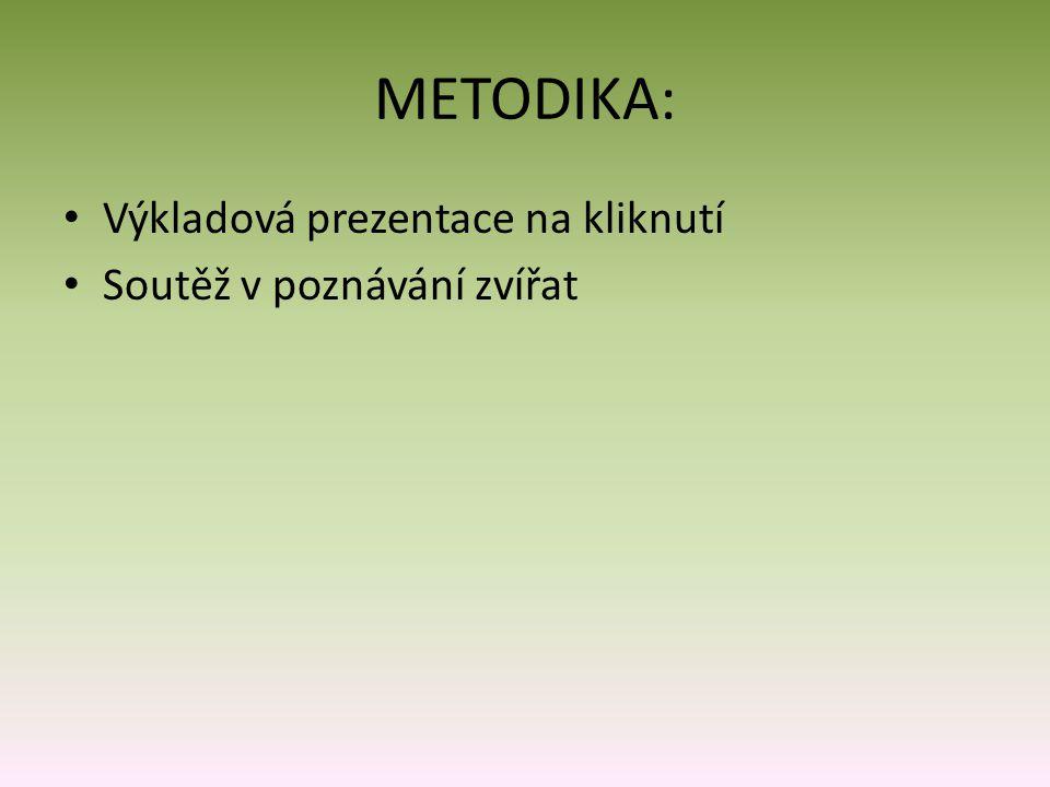 METODIKA: Výkladová prezentace na kliknutí Soutěž v poznávání zvířat