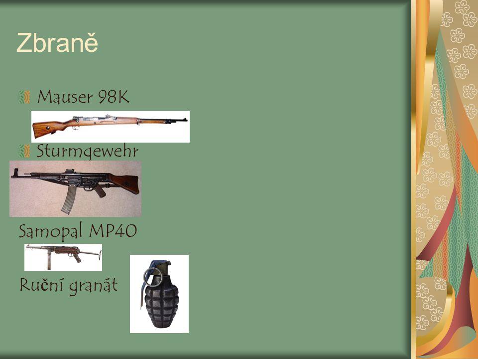 Zbraně Mauser 98K Sturmgewehr Samopal MP40 Ruční granát