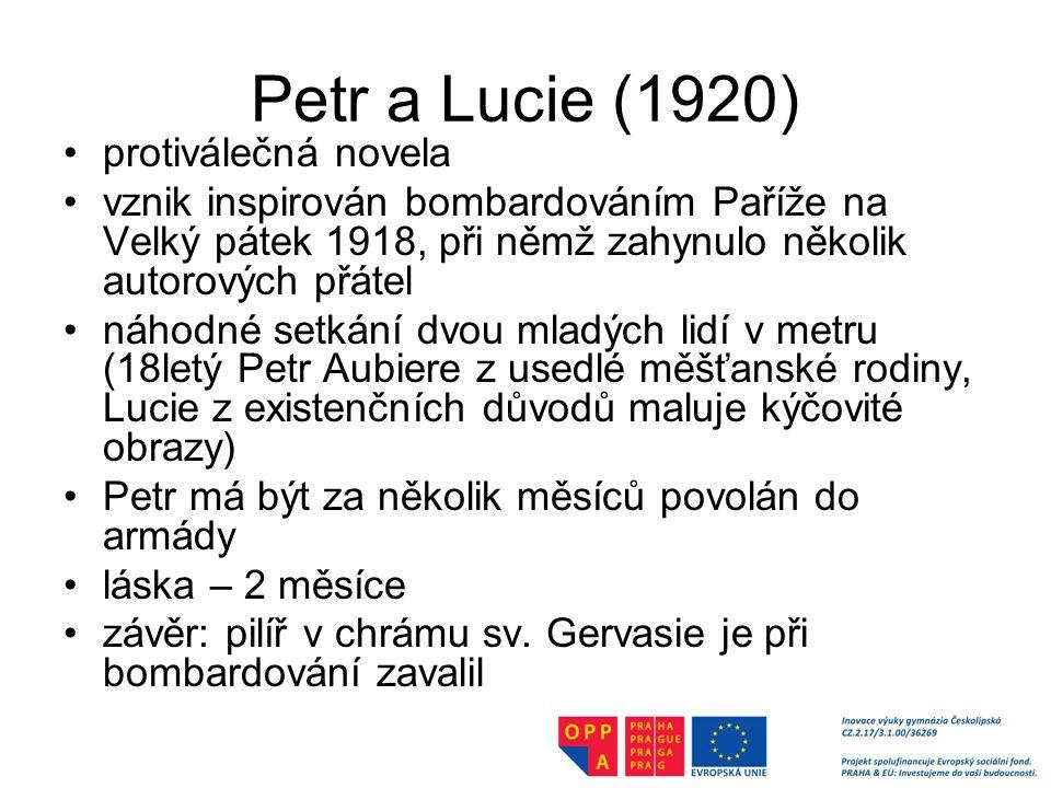 Petr a Lucie (1920) protiválečná novela