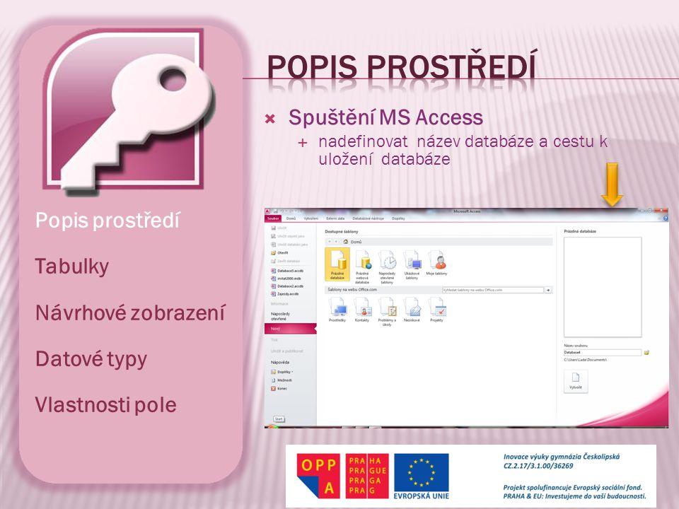 Popis prostředí Spuštění MS Access Popis prostředí Tabulky