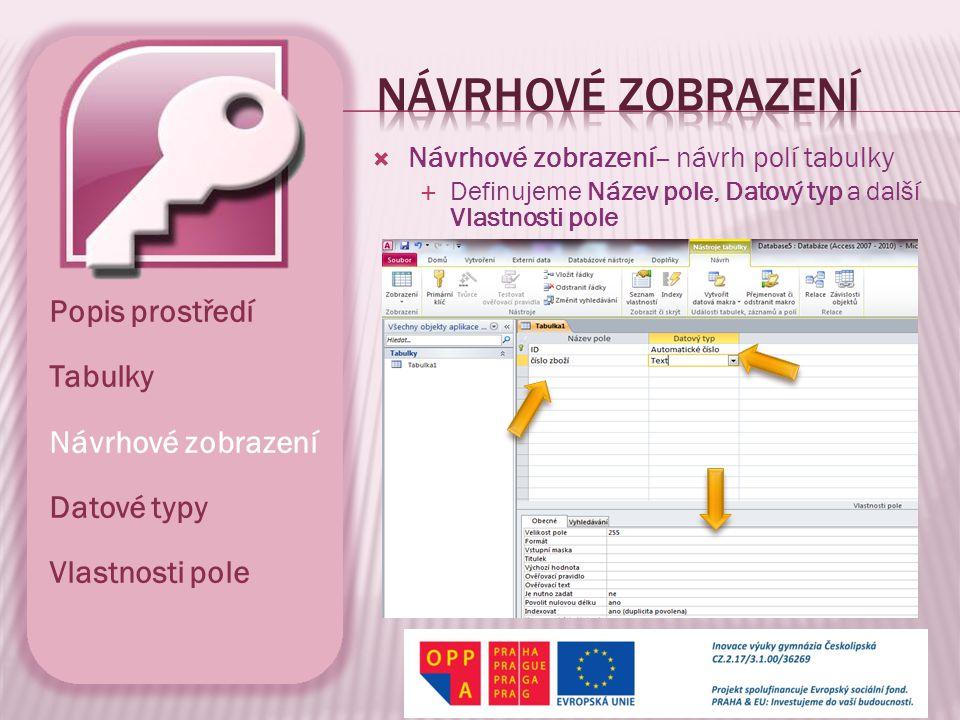 Návrhové zobrazení Popis prostředí Tabulky Návrhové zobrazení