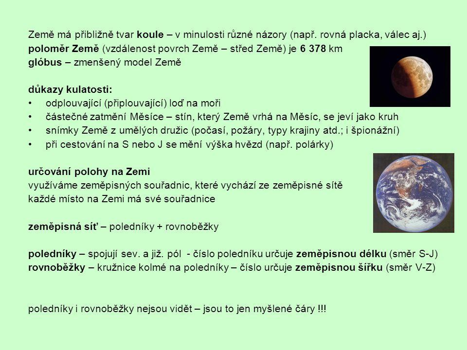 Země má přibližně tvar koule – v minulosti různé názory (např