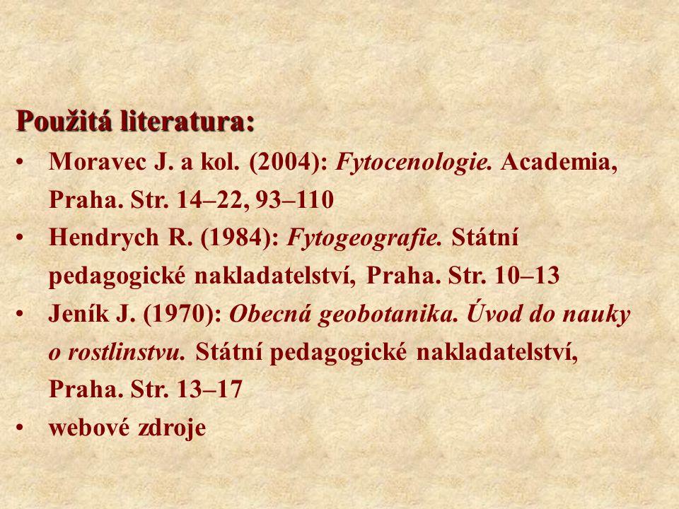Použitá literatura: Moravec J. a kol. (2004): Fytocenologie. Academia, Praha. Str. 14–22, 93–110.