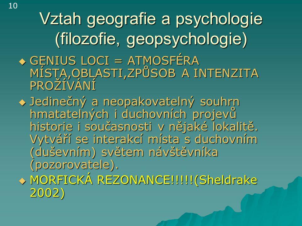 Vztah geografie a psychologie (filozofie, geopsychologie)