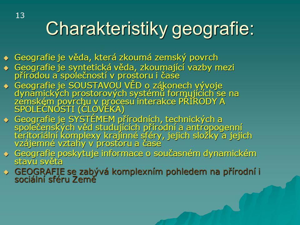 Charakteristiky geografie: