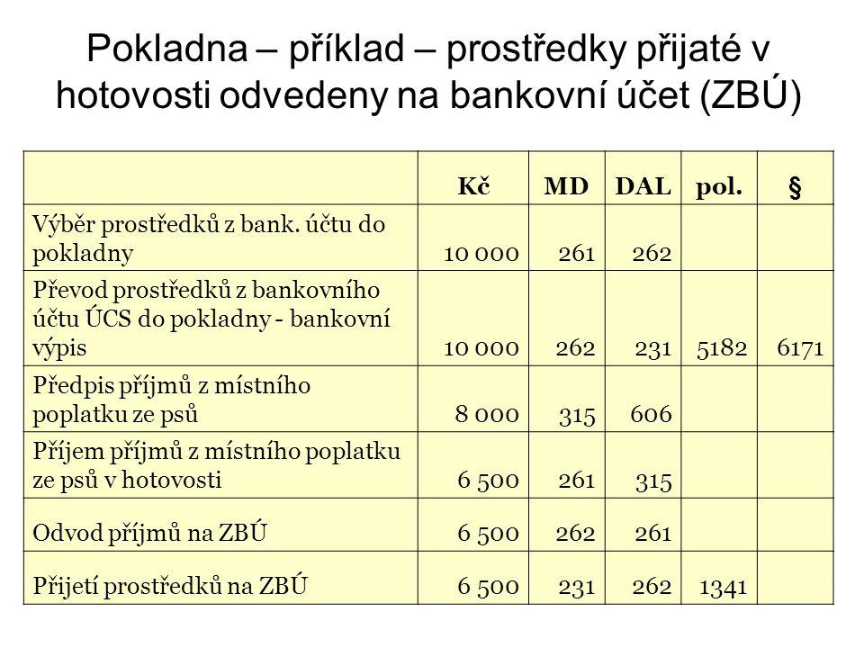 Pokladna – příklad – prostředky přijaté v hotovosti odvedeny na bankovní účet (ZBÚ)
