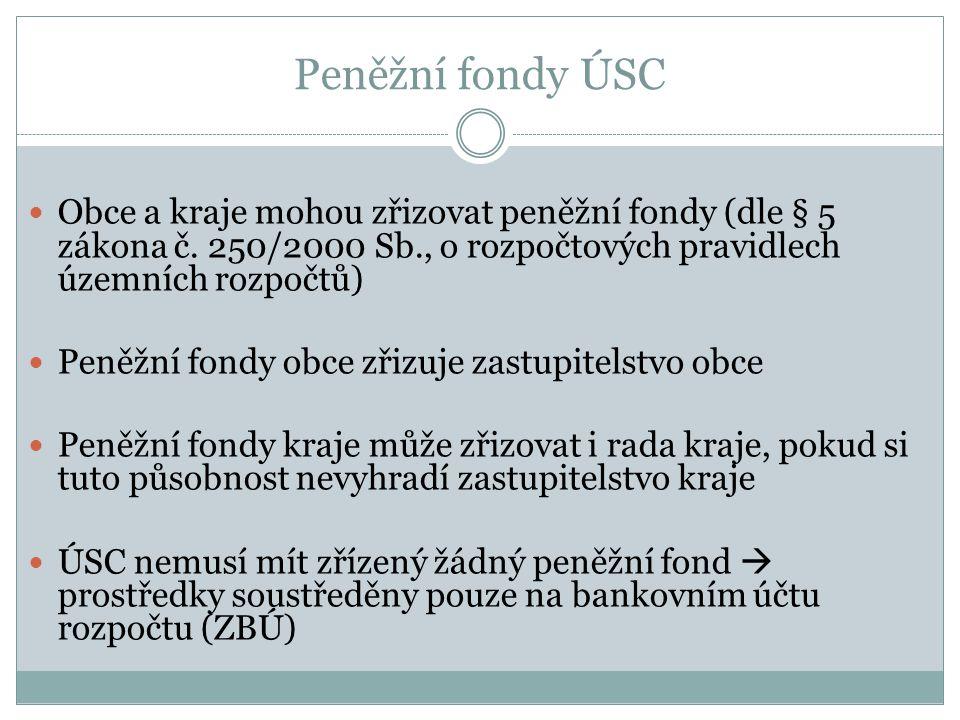 Peněžní fondy ÚSC Obce a kraje mohou zřizovat peněžní fondy (dle § 5 zákona č. 250/2000 Sb., o rozpočtových pravidlech územních rozpočtů)