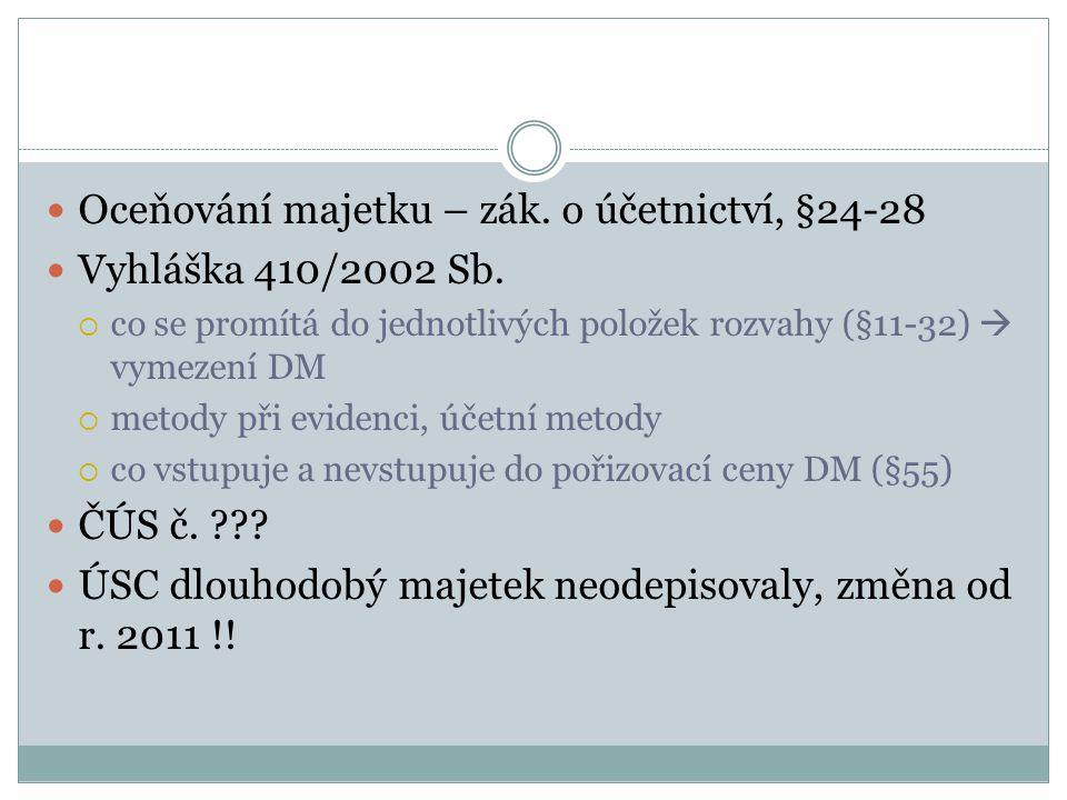 Oceňování majetku – zák. o účetnictví, §24-28 Vyhláška 410/2002 Sb.