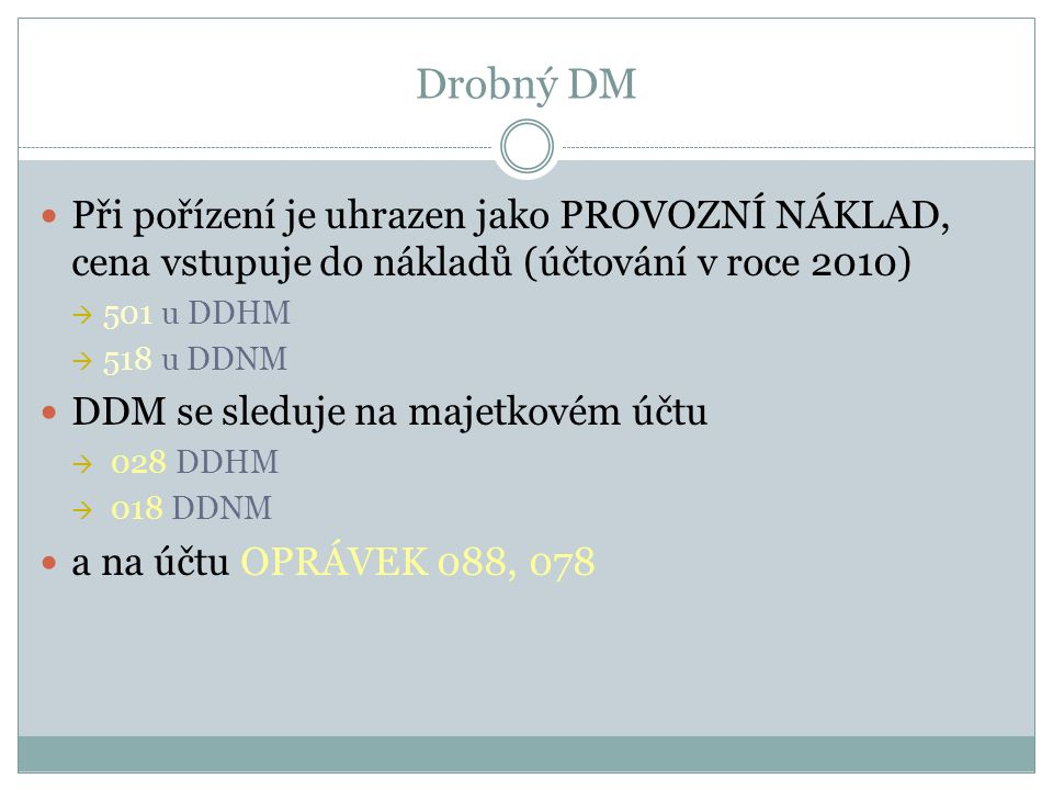 Drobný DM Při pořízení je uhrazen jako PROVOZNÍ NÁKLAD, cena vstupuje do nákladů (účtování v roce 2010)