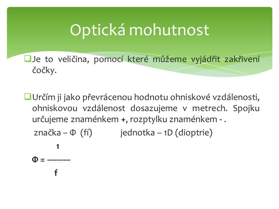 Optická mohutnost Je to veličina, pomocí které můžeme vyjádřit zakřivení čočky.