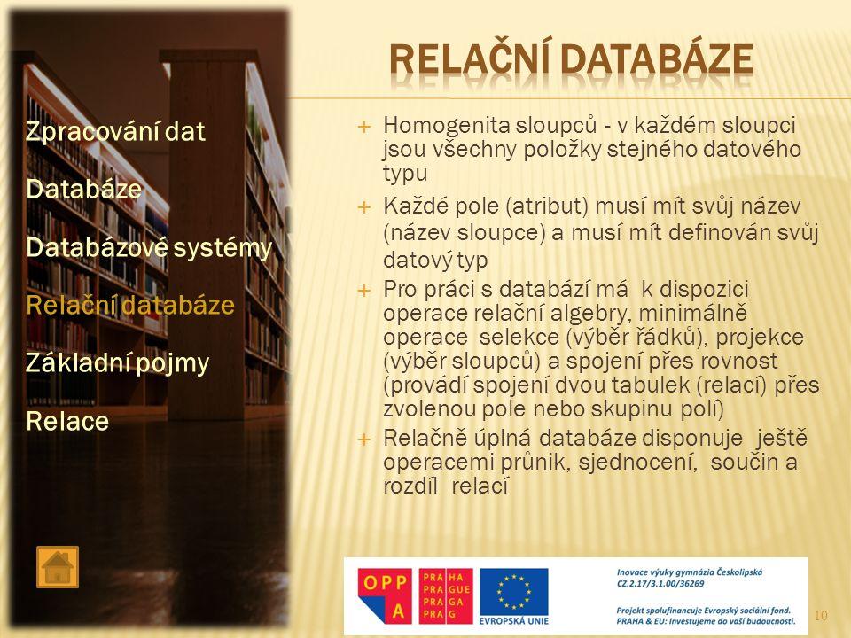 RELAČNÍ DATABÁZE Zpracování dat Databáze Databázové systémy