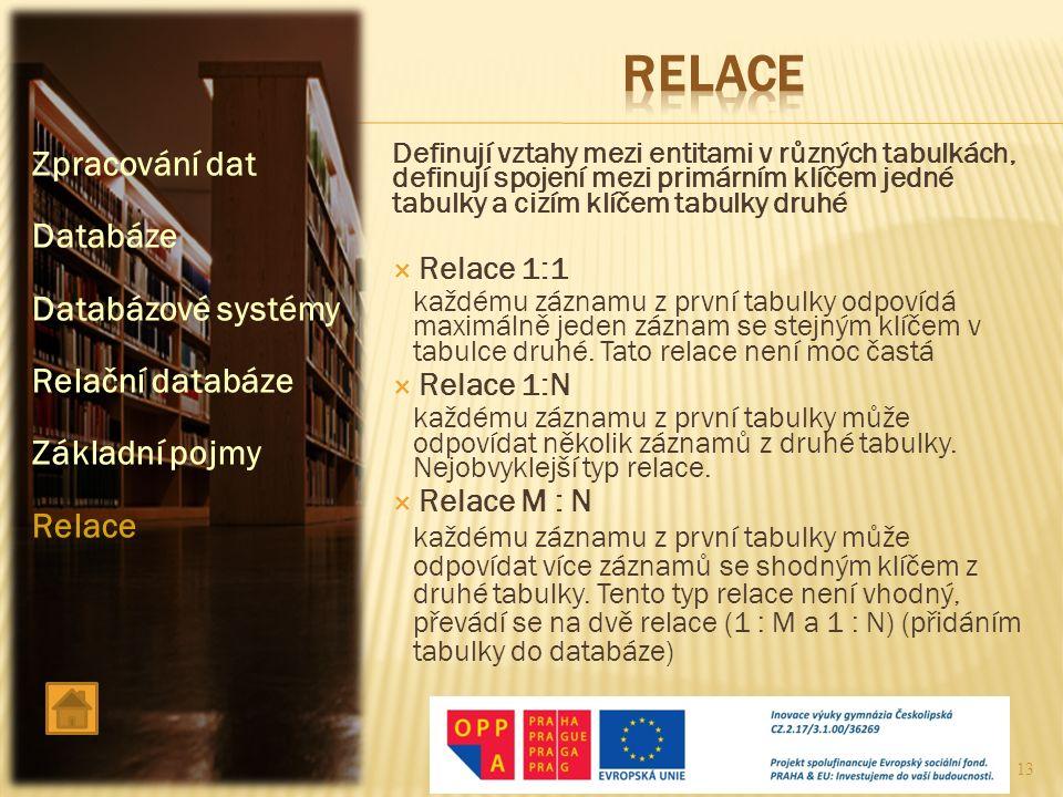 RELACE Zpracování dat Databáze Databázové systémy Relační databáze