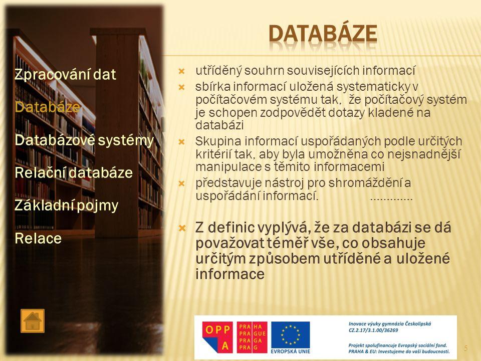 datABÁZE Zpracování dat Databáze Databázové systémy Relační databáze
