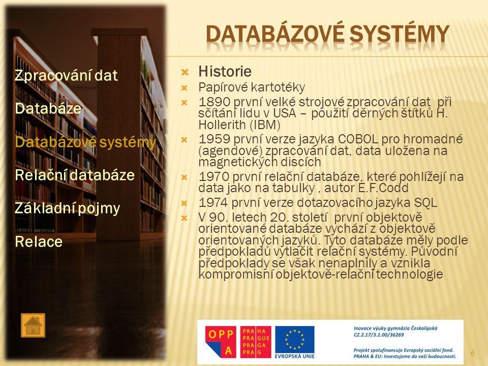 datABÁZOVÉ SYSTÉMY Zpracování dat Historie Databáze Databázové systémy