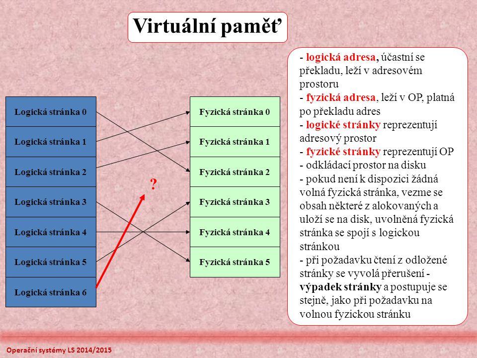 Virtuální paměť - logická adresa, účastní se překladu, leží v adresovém prostoru. - fyzická adresa, leží v OP, platná po překladu adres.