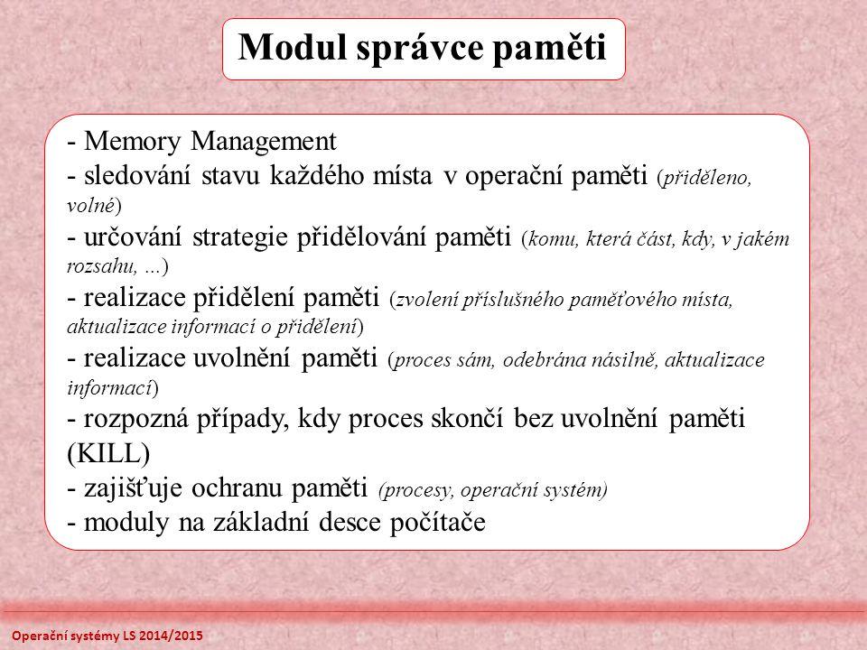 Modul správce paměti Memory Management