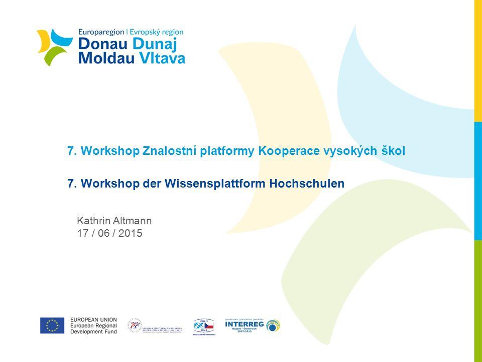 7. Workshop Znalostní platformy Kooperace vysokých škol