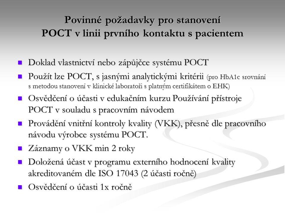 Povinné požadavky pro stanovení POCT v linii prvního kontaktu s pacientem
