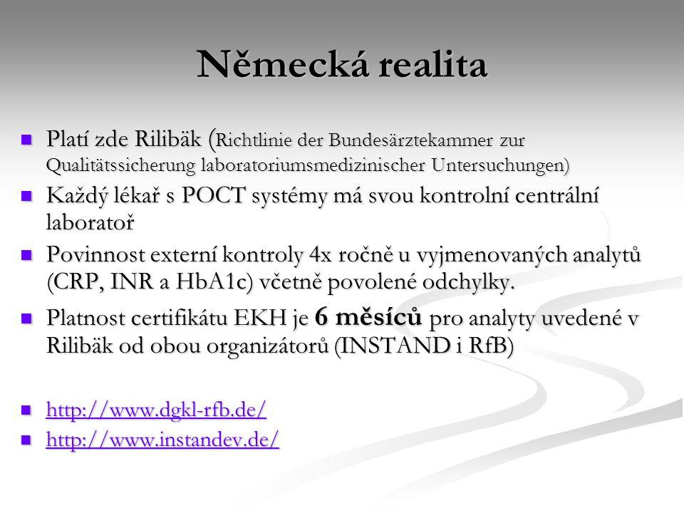 Německá realita Platí zde Rilibäk (Richtlinie der Bundesärztekammer zur Qualitätssicherung laboratoriumsmedizinischer Untersuchungen)