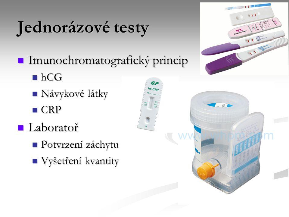 Jednorázové testy Imunochromatografický princip Laboratoř hCG