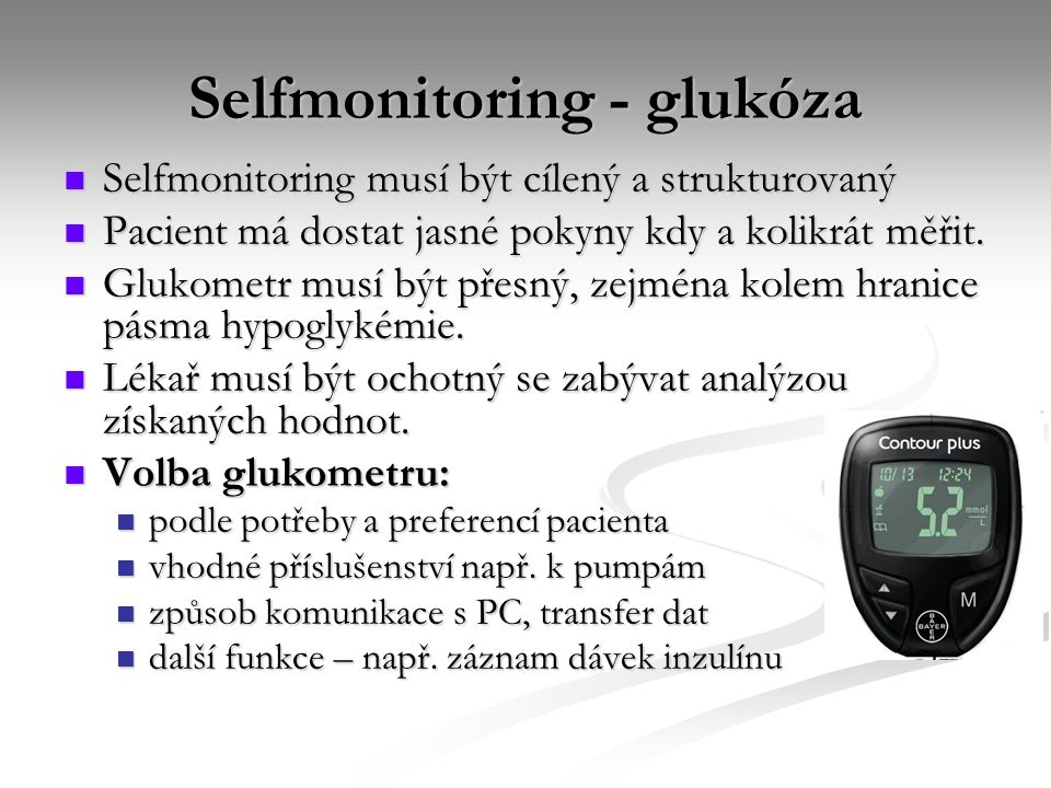 Selfmonitoring - glukóza