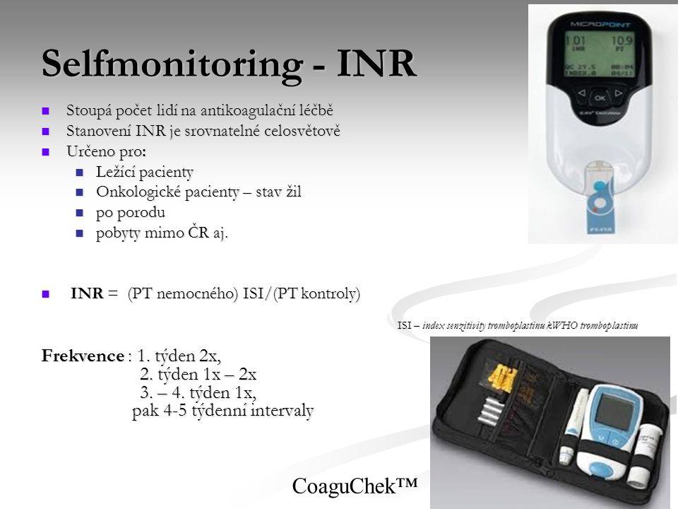 Selfmonitoring - INR CoaguChek™ Frekvence : 1. týden 2x,