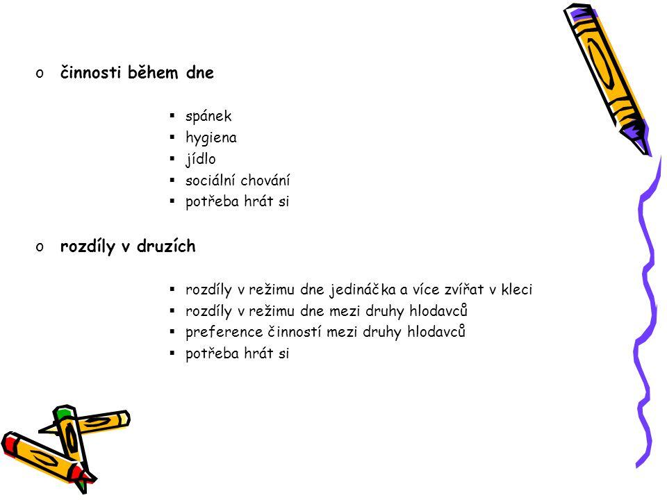 činnosti během dne rozdíly v druzích spánek hygiena jídlo