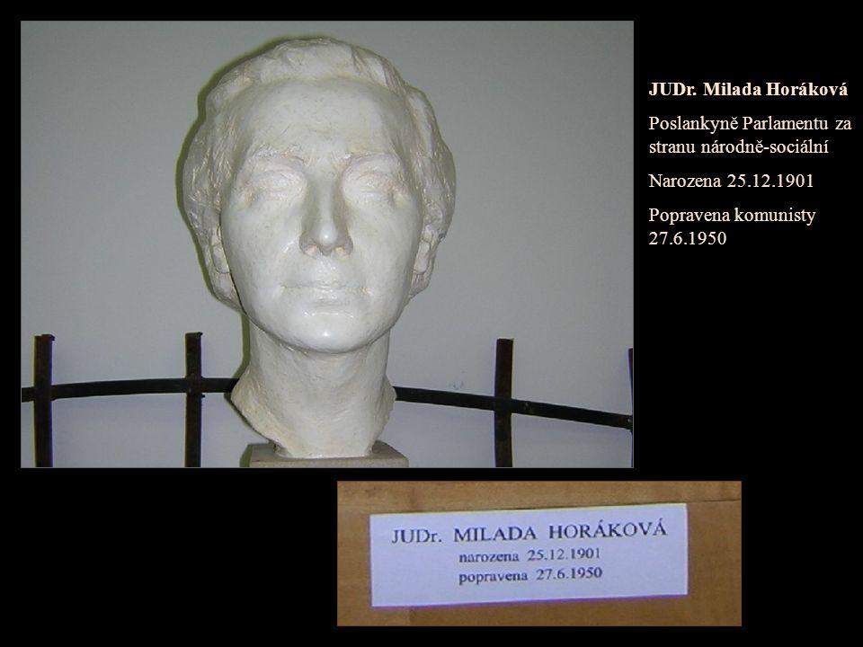 JUDr. Milada Horáková Poslankyně Parlamentu za stranu národně-sociální.