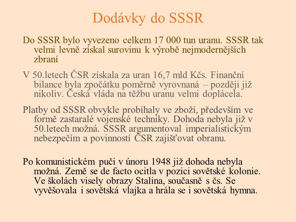 Dodávky do SSSR Do SSSR bylo vyvezeno celkem 17 000 tun uranu. SSSR tak velmi levně získal surovinu k výrobě nejmodernějších zbraní.