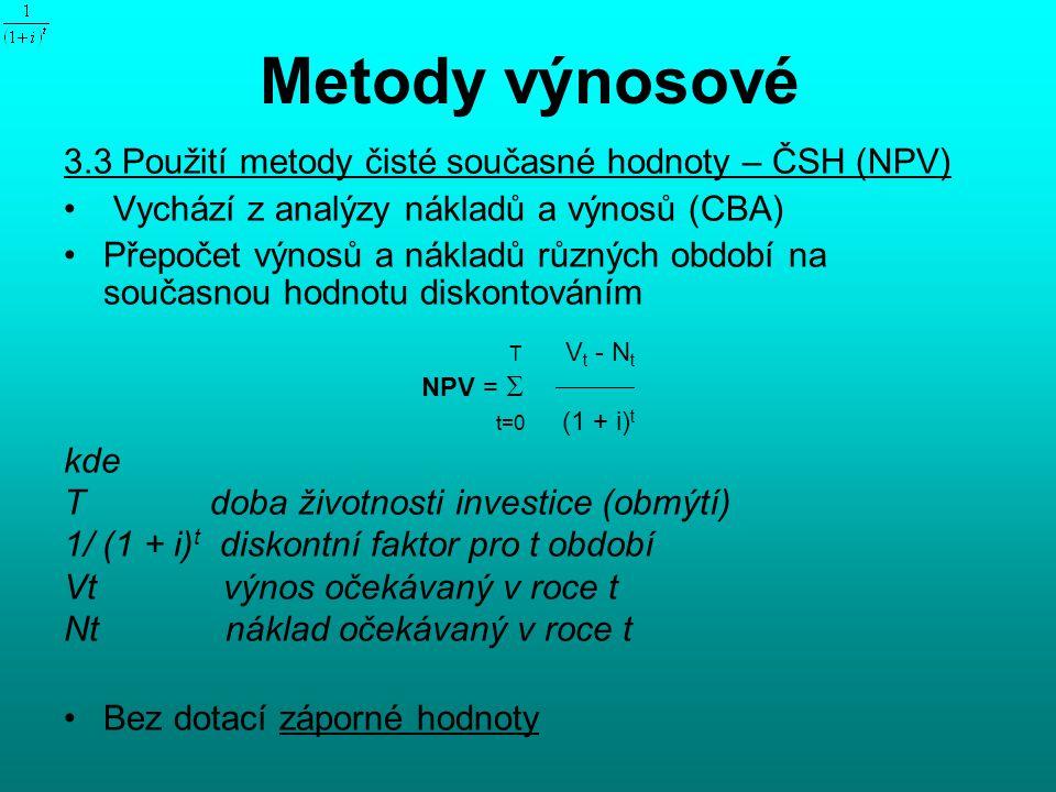 Metody výnosové 3.3 Použití metody čisté současné hodnoty – ČSH (NPV)
