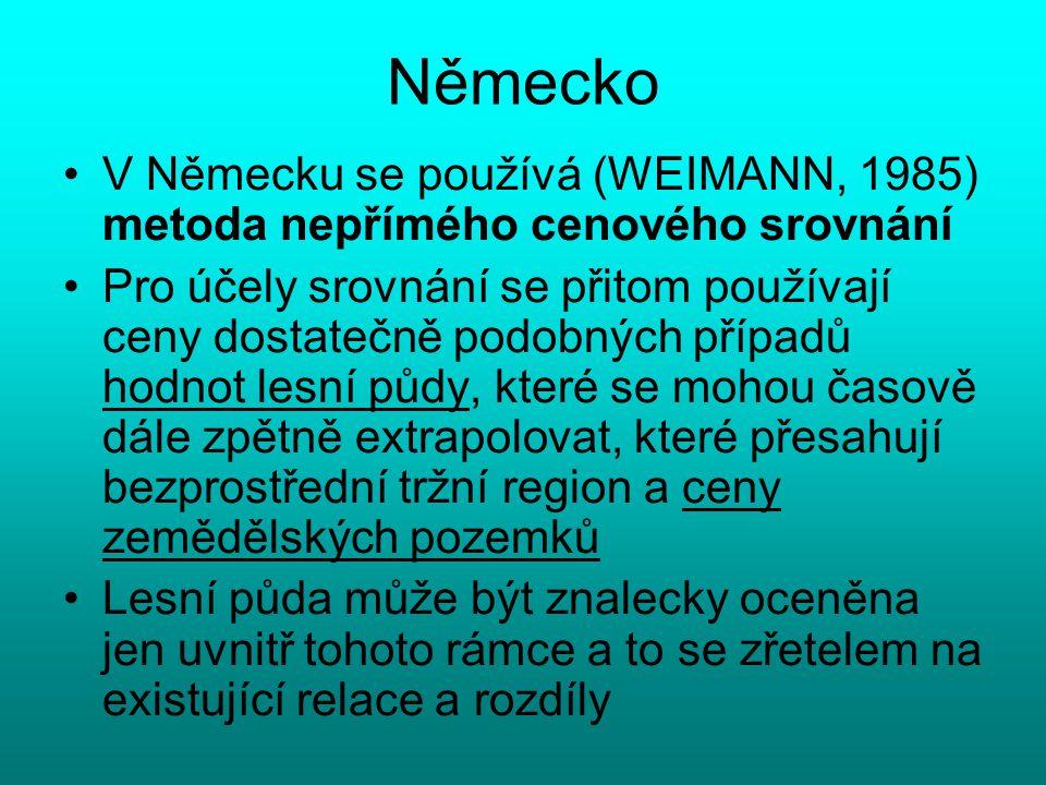 Německo V Německu se používá (WEIMANN, 1985) metoda nepřímého cenového srovnání.
