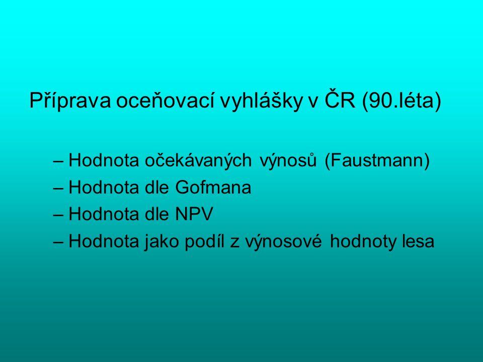 Příprava oceňovací vyhlášky v ČR (90.léta)