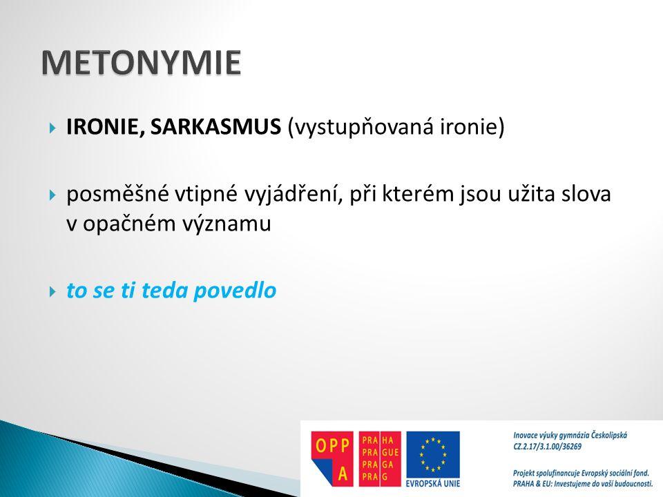 METONYMIE IRONIE, SARKASMUS (vystupňovaná ironie)
