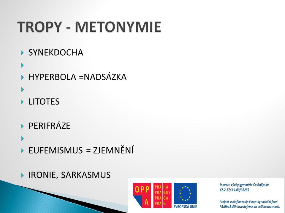 TROPY - METONYMIE SYNEKDOCHA HYPERBOLA =NADSÁZKA LITOTES PERIFRÁZE