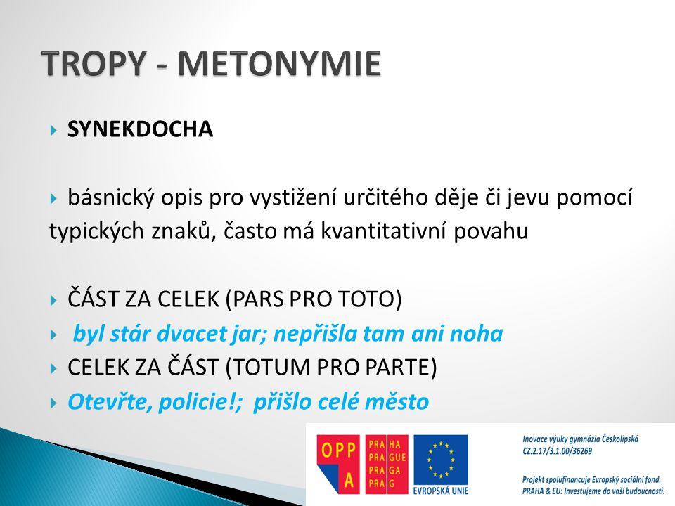 TROPY - METONYMIE SYNEKDOCHA