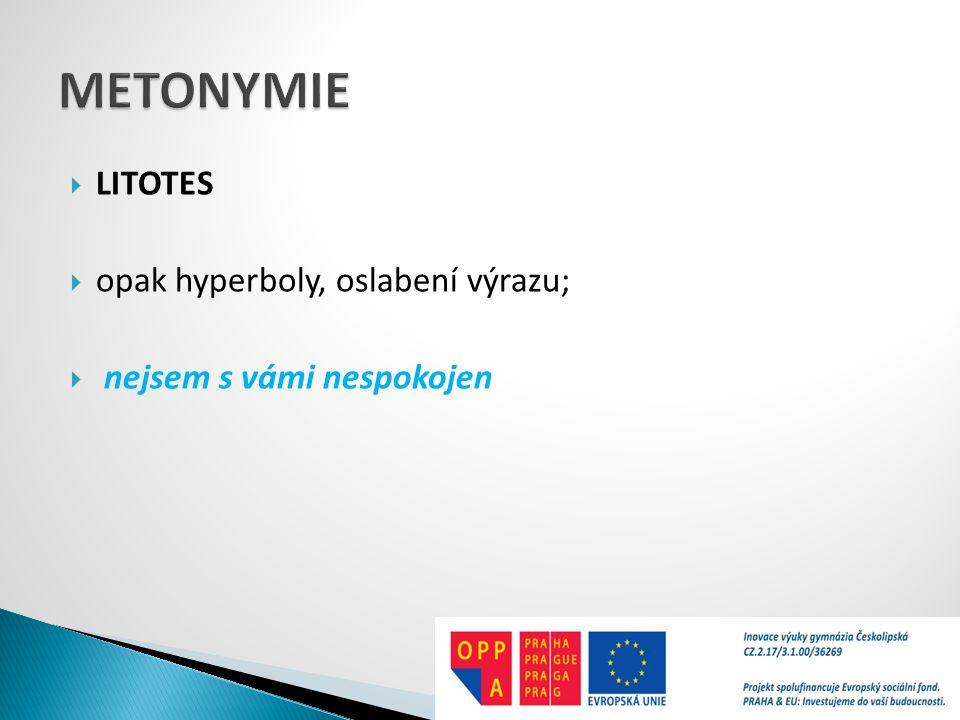METONYMIE LITOTES opak hyperboly, oslabení výrazu;