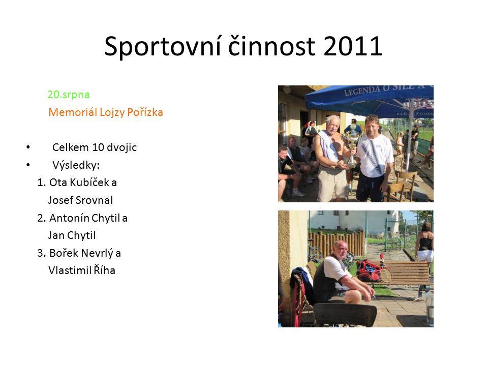 Sportovní činnost 2011 20.srpna Memoriál Lojzy Pořízka