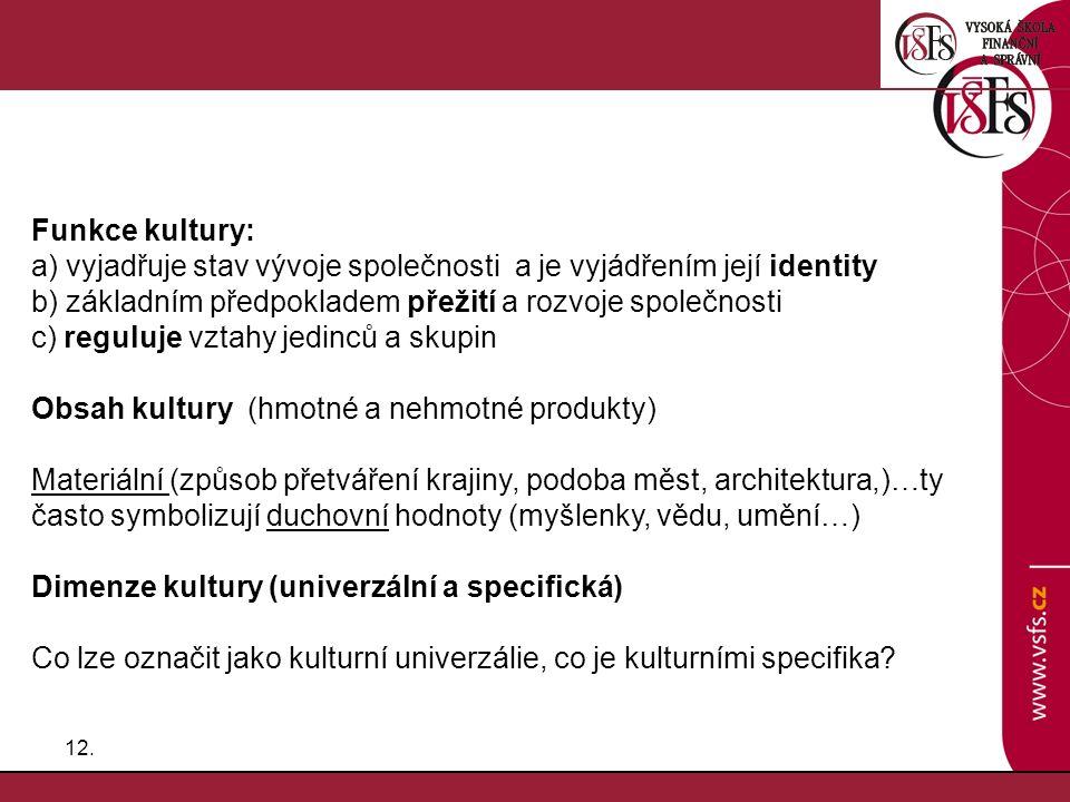 Funkce kultury: a) vyjadřuje stav vývoje společnosti a je vyjádřením její identity. b) základním předpokladem přežití a rozvoje společnosti.