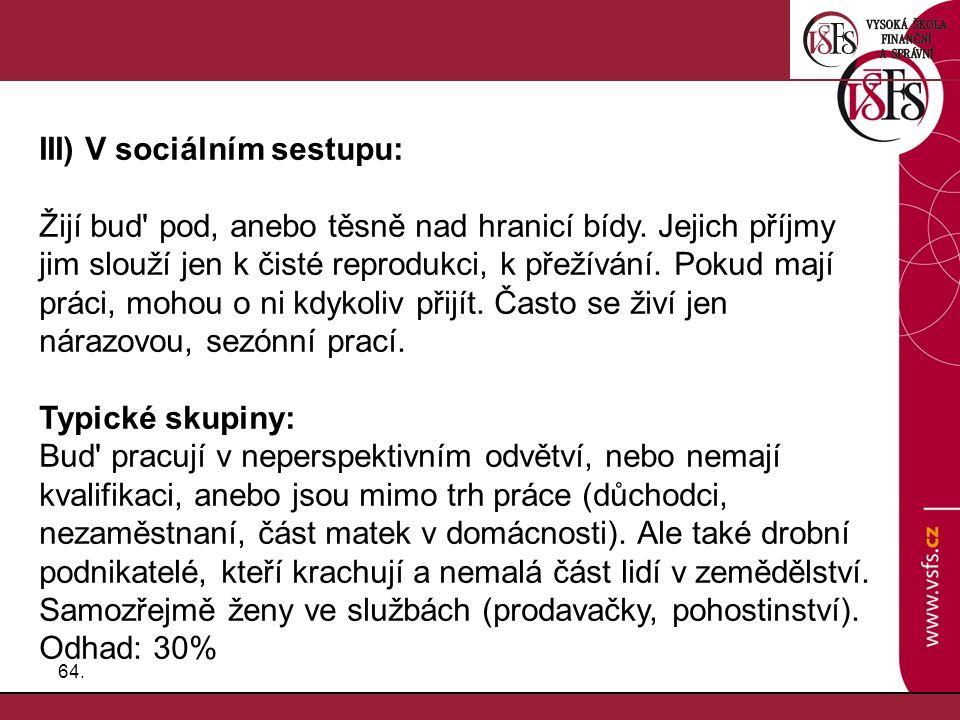 III) V sociálním sestupu: