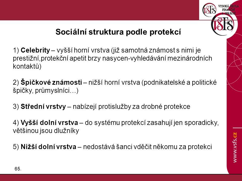 Sociální struktura podle protekcí