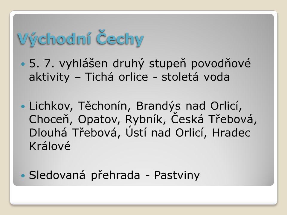 Východní Čechy 5. 7. vyhlášen druhý stupeň povodňové aktivity – Tichá orlice - stoletá voda.