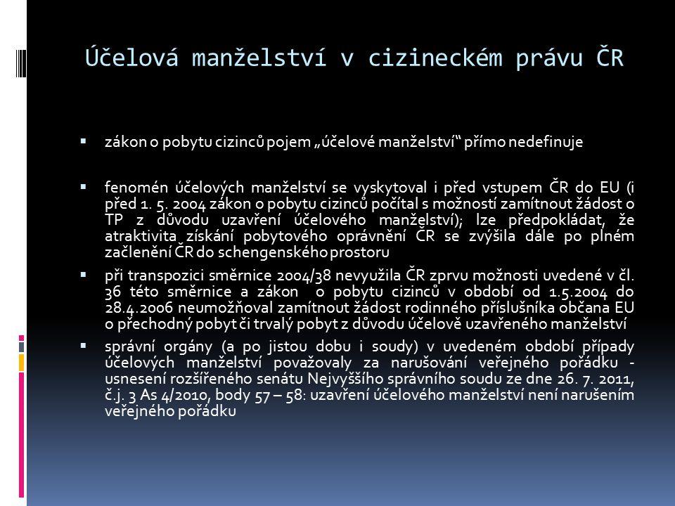 Účelová manželství v cizineckém právu ČR