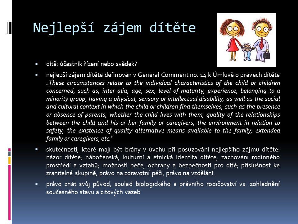 Nejlepší zájem dítěte dítě: účastník řízení nebo svědek