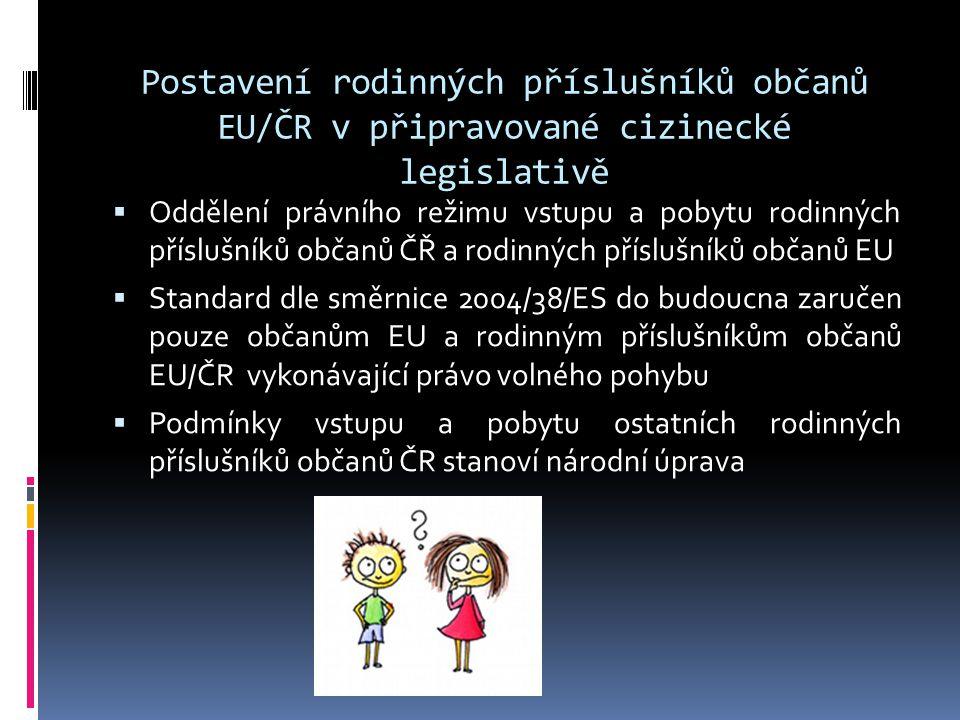Postavení rodinných příslušníků občanů EU/ČR v připravované cizinecké legislativě