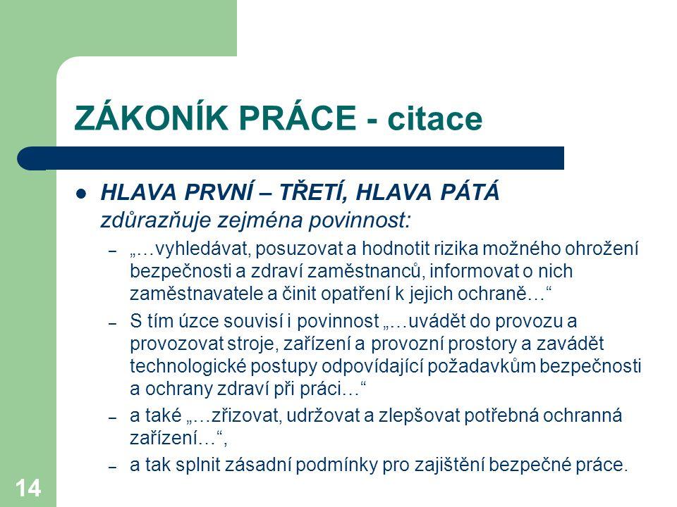 ZÁKONÍK PRÁCE - citace HLAVA PRVNÍ – TŘETÍ, HLAVA PÁTÁ zdůrazňuje zejména povinnost: