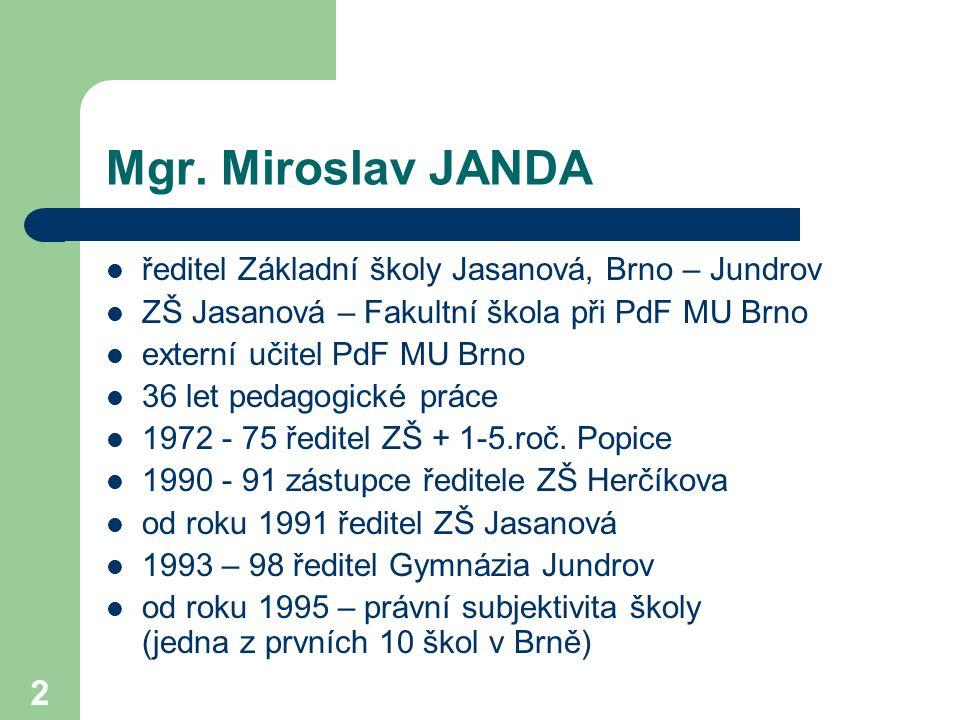 Mgr. Miroslav JANDA ředitel Základní školy Jasanová, Brno – Jundrov