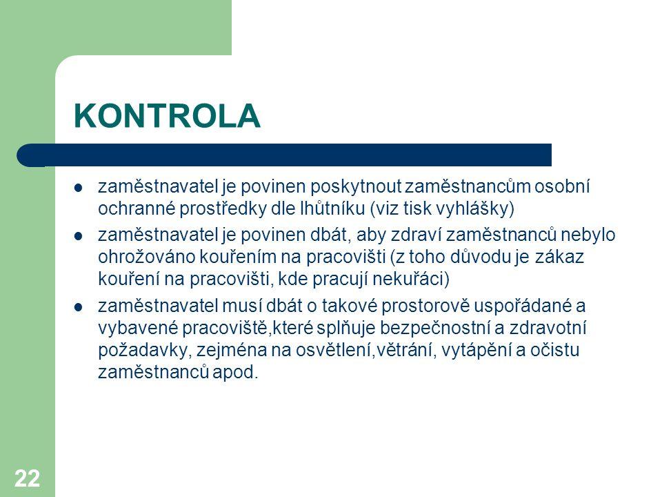 KONTROLA zaměstnavatel je povinen poskytnout zaměstnancům osobní ochranné prostředky dle lhůtníku (viz tisk vyhlášky)