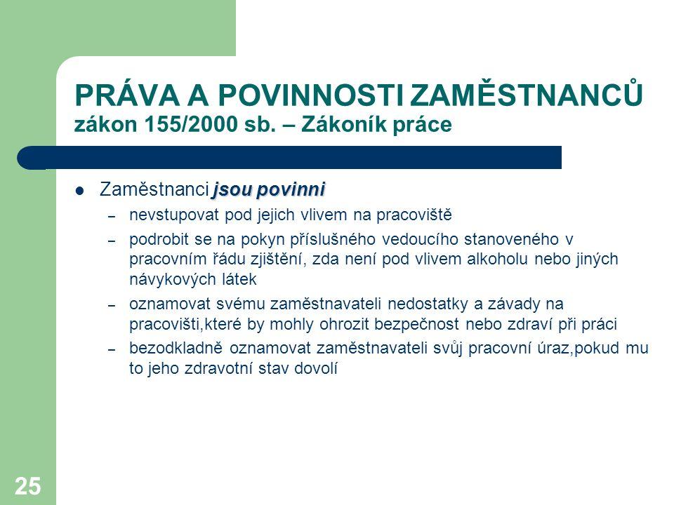 PRÁVA A POVINNOSTI ZAMĚSTNANCŮ zákon 155/2000 sb. – Zákoník práce
